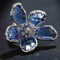 Anel Feminino Fashion 2017 New Blue Crystals Super Big Flower Ring Cubic Zirconia Cool Punk Cocktail