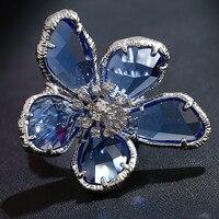 Anel Feminino Mode 2017 Neue Blaue Kristalle Super Große Blume Ring Zirkonia Coole Punk Cocktail Party Ring Frauen Schmuck