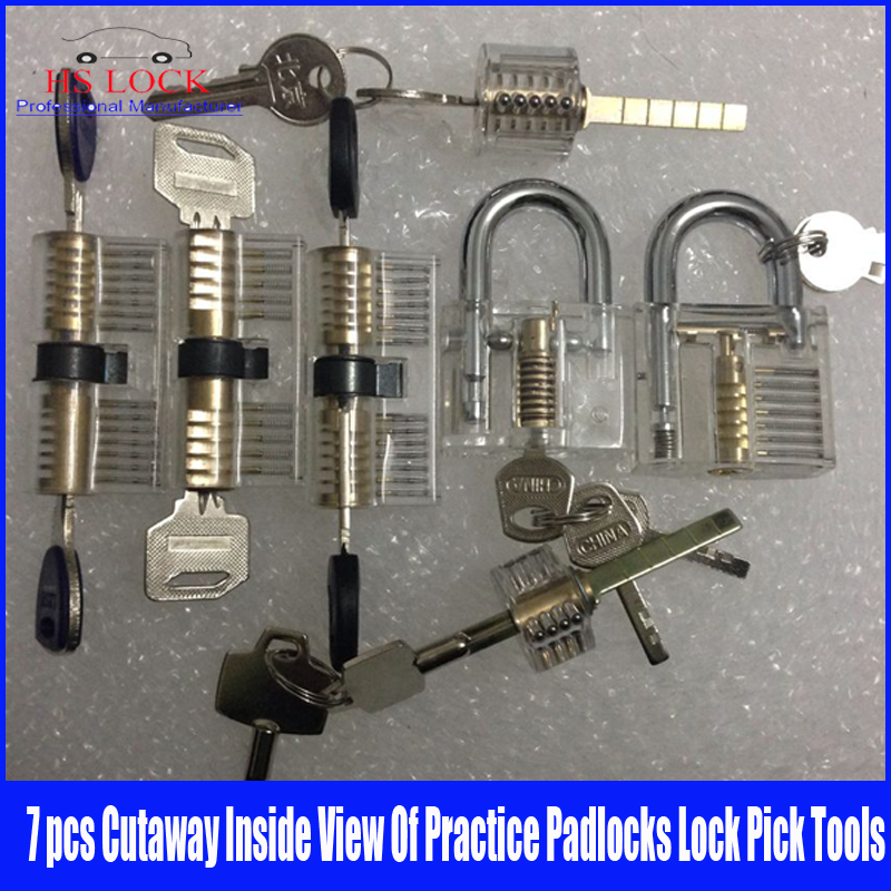 Hot Sale 7pcs Set Cutaway Visable Practice Padlock Lock Training Learning Skill Pick For Locksmith  hakkadeal broken key removal practice padlock set