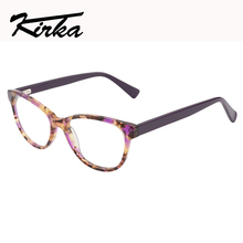 Kirka Women Eyeglass Frames Leopard  Print Glasses Frame Acetate Optical For Retro Myopia Eye