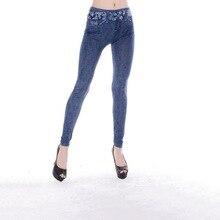 Fashion Snow Printed Seamless Imitation Jeans Cowboy Leggings Women Fake Pocket Jeggings Slimming Leggings Pencil Pants Trousers