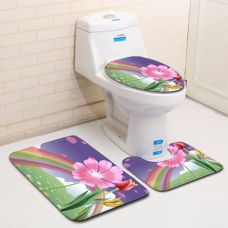 Outstanding Us 13 92 30 Off Flowers Printing Bathroom Carpet Set 3Pcs Toilet Mat In Toilet Seat Covers Contour Rug And Lid Cover Sets For Home Decor Pink In Gmtry Best Dining Table And Chair Ideas Images Gmtryco