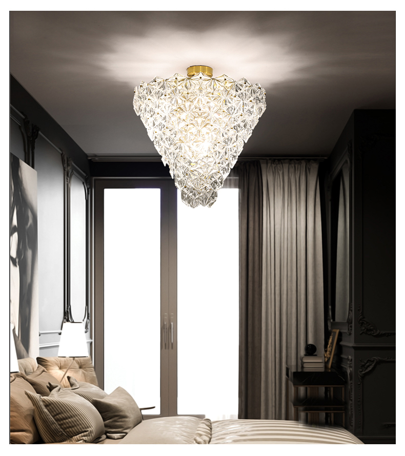 Modern Crystal Glass Ceiling Lights Fixture LED Light American Snow Flower Ceiling Lamps Bed Living Room Home Indoor Lighting - 6