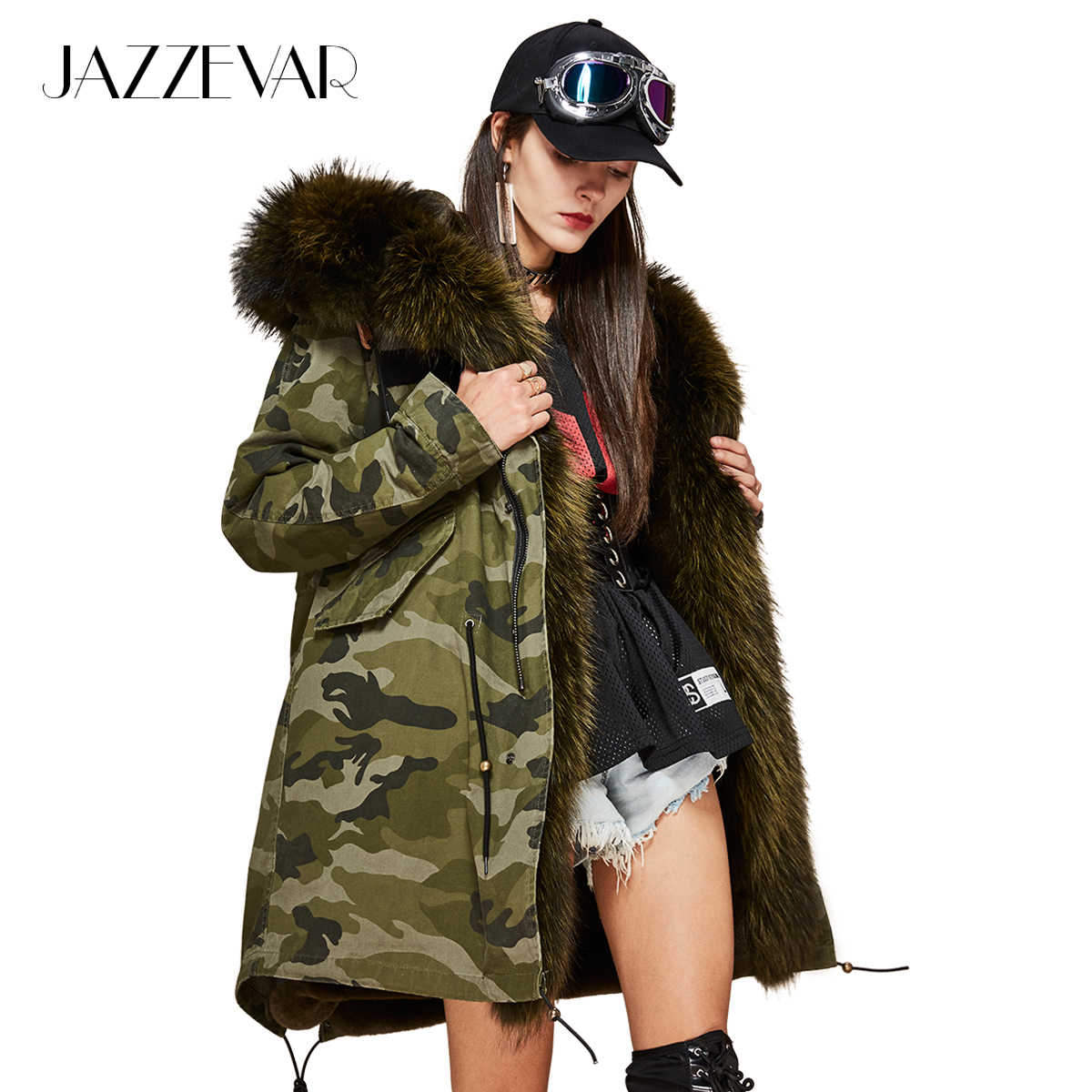 JAZZEVAR 2019 New Women's Luxurious Large raccon fur Collar hooded Coat camouflage Military Parkas warm Outwear Winter Jacket