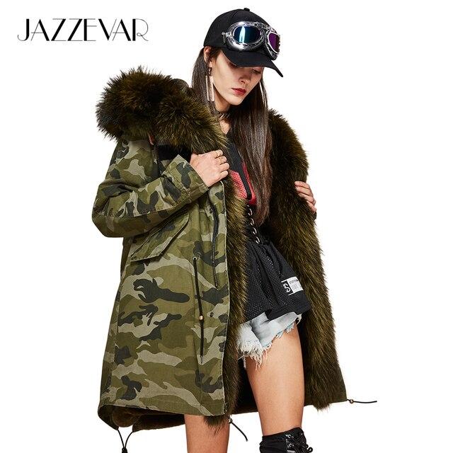 Jazzevar новые женские Модные роскошный большой Raccon меховой воротник с капюшоном Пальто Камуфляж Военная Униформа Мужские парки теплая верхняя одежда зимняя куртка