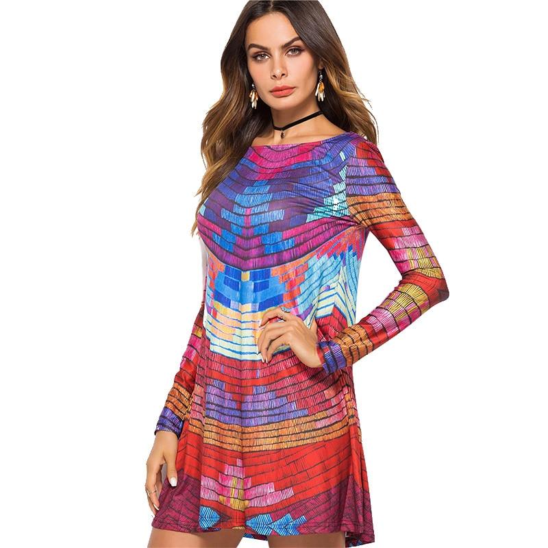 Qualità Vestito Strisce Maniche Estate collo Alta Colorato Boho Lunghe A Donne Mini Di O Del 2018 Backless Dress Vestido Beach wYz4Zxgq