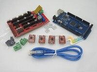 1pcs Mega 2560 R3 For Arduino 1pcs RAMPS 1 4 Controller 4pcs A4988 Stepper Driver Module