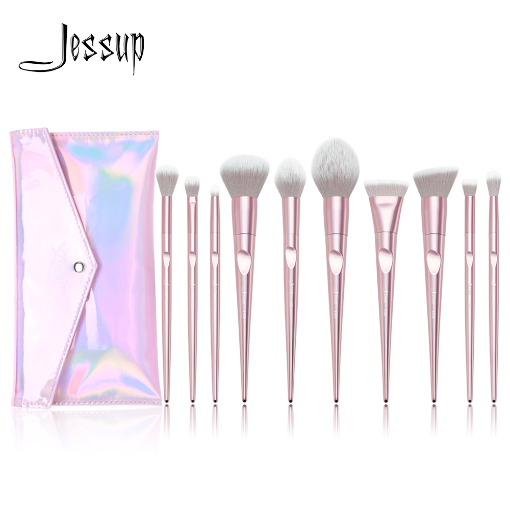 New Arrival Jessup brushes 10pcs Pink Makeup brushes set beauty Make up brush & 1PC Cosmetic bag women blush Powder Foundation cottelli m