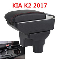 BIGGEST SPACE+LUXURY+USB Car armrest box central Storage content box with cup holder USB FIT FOR KIA K2 2017