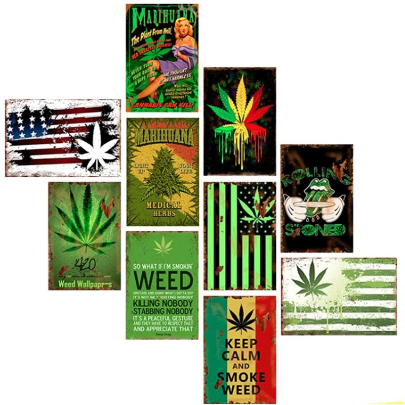 California Weed Retro Metal Tin Signs Poster Marijuana Vintage Tinplate Poster Bar Cafe Wall Decoration Poster 20*30cm