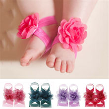 Newborn Baby Wrist Flower Foot Band Barefoot Sandals Shoes Photo Prop Baby Socks Baby Girl Socks 2019 Fashion New Hot(China)