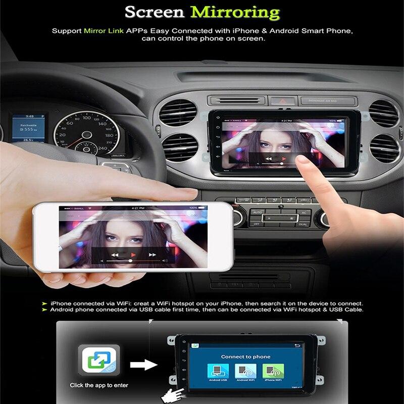 4 ядра Android 6. 0 2Din dvd плеер автомобиля для VW Golf mk6 5 поло Jetta Tiguan Passat B6 5 см для skodaoctavia fabia miralink