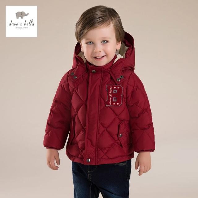 DB4245 dave bella invierno niños bebés red wite pluma de pato encapuchado abajo cubre cabrito capa