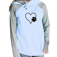 2018 Nieuwe Mode Hart Liefde Pootafdruk Sweatshirt Femmes Hoodies Vrouwen Sweatshirts Kawaii Patroon Print Meisjes Size Herfst Lente