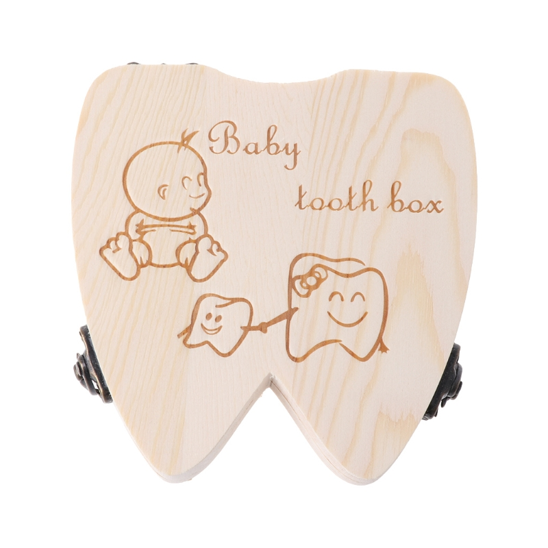 For Commemorating Memorybaby Tooth Box Wooden Milk Teeth Organizer Storage Boys Girls Save Souvenir Case