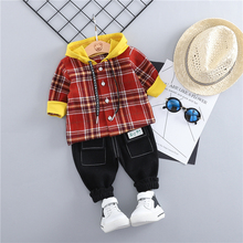 hot deal buy zwxlhh 2019 spring new baby boys girls clothing sets toddler infant clothes suits hooded plaid coat  pants kids children costume