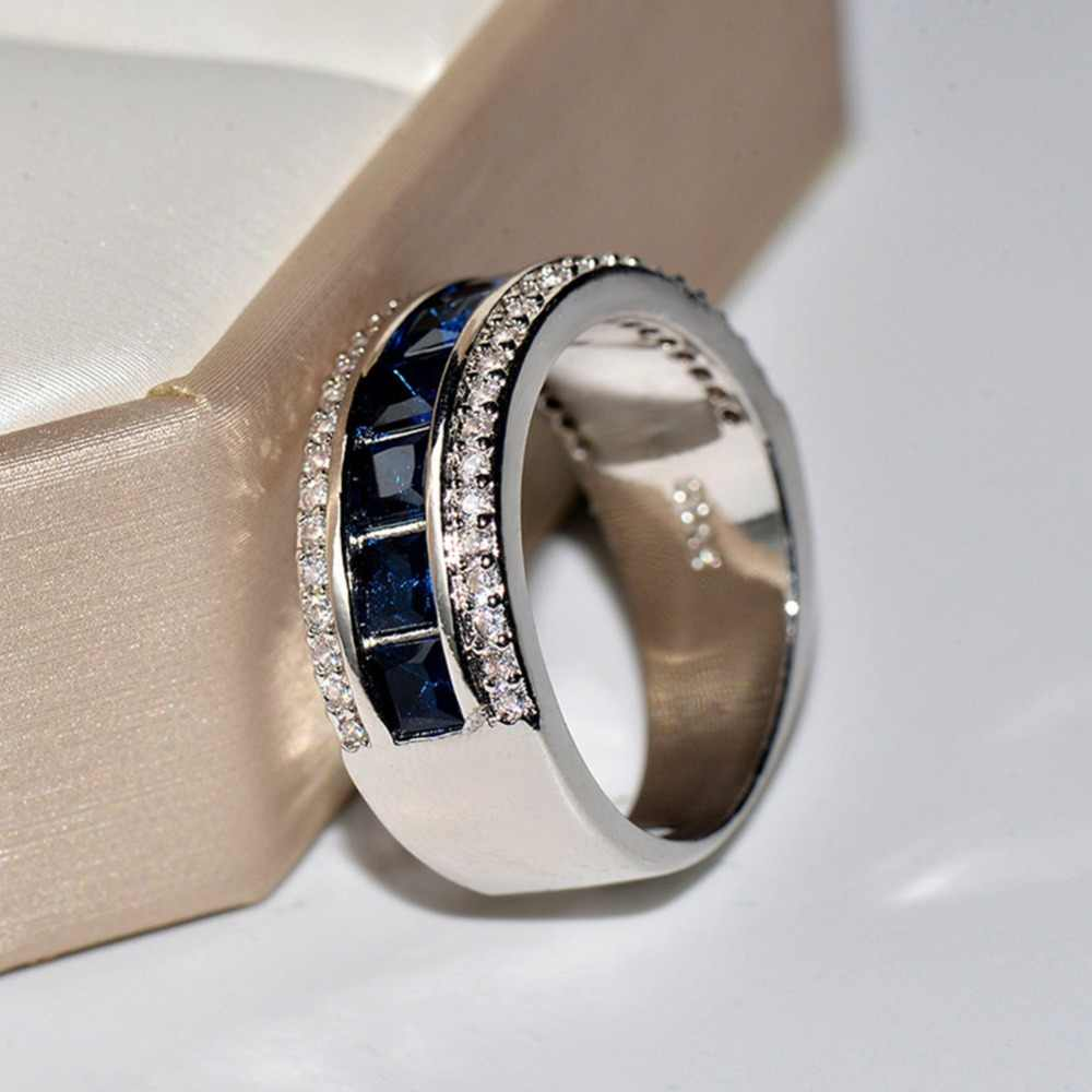 Fashion Men's Women's Ring Created Blue Sapphire Engagement 925 Sterling Silver Ring