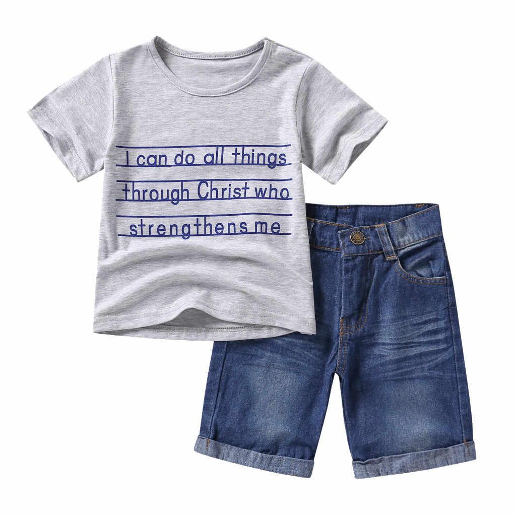Niño Chico Niñas Niños Ropa De Verano Letra Camiseta Pantalones De Mezclilla Chico S Adolescentes Niños Conjuntos Ropa Niñas Trajes De Verano