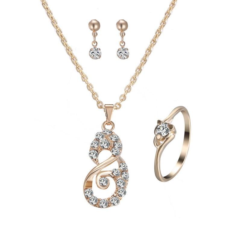 Music Note Shape Rhinestone font b Jewelry b font Sets Drop Earrings Pendant Necklace Ring Women
