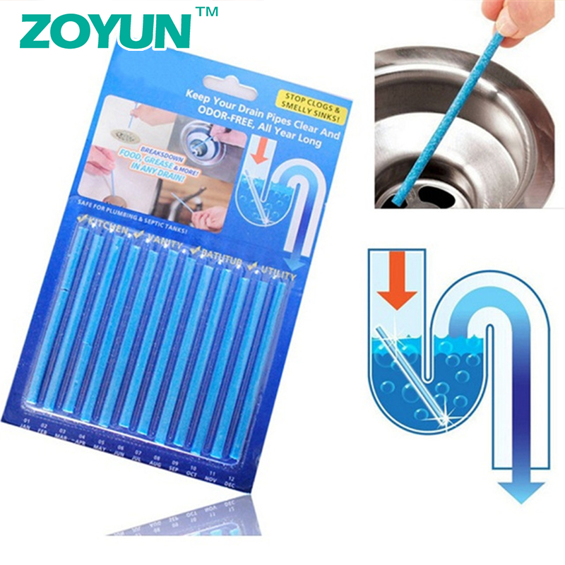 ZOYUN 12PCS/ Set Cleaing Sticks Keep Your Drains Pipes Clear Odor Home Cleaning Essential Cleaner Bathroom Tools