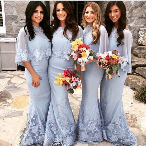 Special Mermaid Bridesmaid Dresses Lique Shawl Floor Length Lace Wedding Party Dress Formal Gown