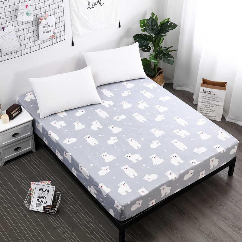 1 шт. 100% полиэстер простыня по размеру матраса печать обложек льняное постельное белье простыни с эластичной лентой двойной размер королевы 160 см * 200 см