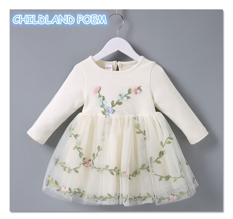 Baby Girl Dresses Party Wedding Flower 1 Year Birthday Dress Vestido 2018 Infant Toddler Ball Gowns Long Sleeve Baby Dress