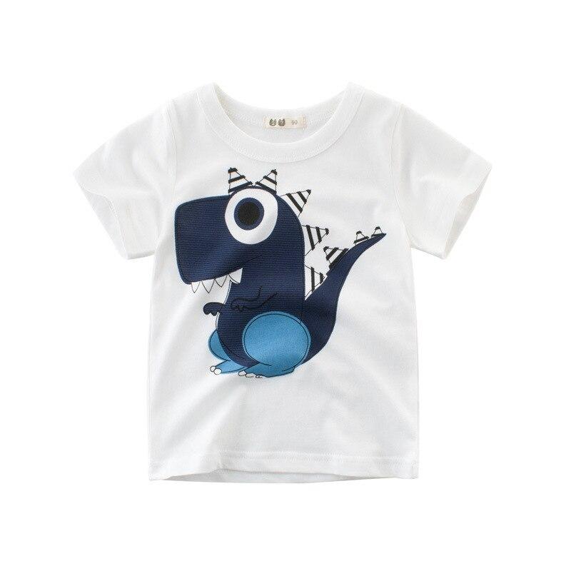 Summer Kids Boys T Shirt dinosaur Print Short Sleeve Baby Girls T shirts Cotton Children T shirt O neck Tee Tops Boy Cloth in T Shirts from Mother Kids