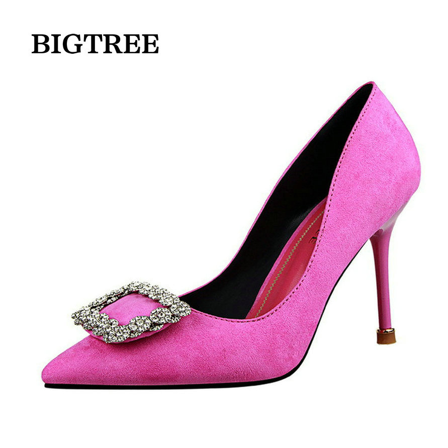 fashion women wedding shoes rhinestone square buckle 90mm middle stiletto heels low cut vamp pointed toe jeweled bridal shoes