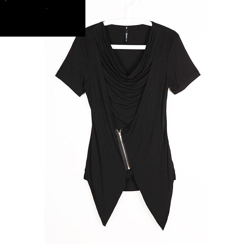 Vêtements Harajuku De Noir Pièces Courtes shirt Camisetas Zipper Manches Faux T Deux Hommes Il Hombre Personnalité Mince À Chemise Mâle T XawZpq6