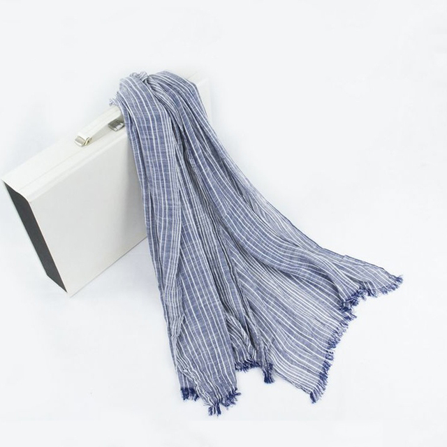 Spring Women and Men Scarf Cotton Linen Vintage Stripe Scarves Wraps 180*80cm 8Color 1