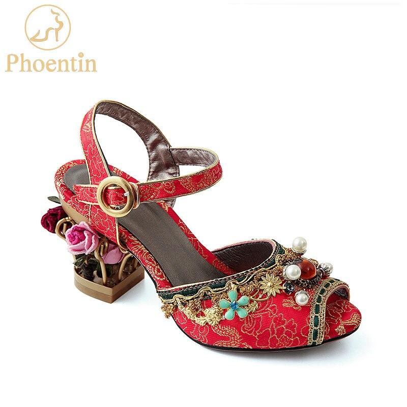 Phoentin Chinese red crystal wedding sandals for ladies string bead 2019 flower metal heels buckle strap