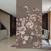 Biombo Translucent wall panels porch hanging curtain soft partition stylish living room entrance Guabing Flower 100CMX200CM