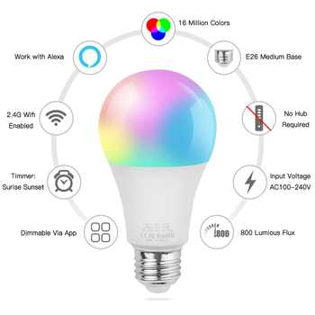 Smart WiFi Alexa Google Control Led Bulbs SMD 2835 9W 24 Leds RGB Led Bulbs 2700-6500K Smart LED Light Bulb For Living Room