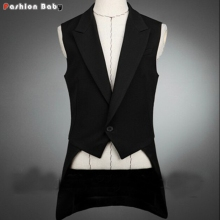 Newest Cool Party Tuxedo Vest Men's Vintage Fashion Back Tail All-match Slim Fit Casual Waistcoat