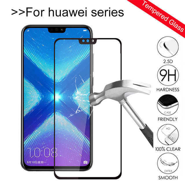 Full Coverage Premium Tempered Glass For Huawei Honor 8X 7X 6X 10 9 8 Lite V10 V9 Play 7C 6C Pro 9i Screen Protectors Film Glass