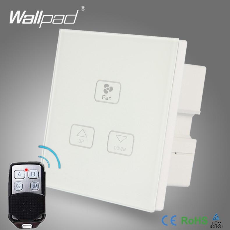 все цены на Smart Remote Fan Switch Wallpad White Glass Frame 110V-250V Fan Switch 3 Gang RF Remote Control Fan Speed Regulator Wall Switch онлайн