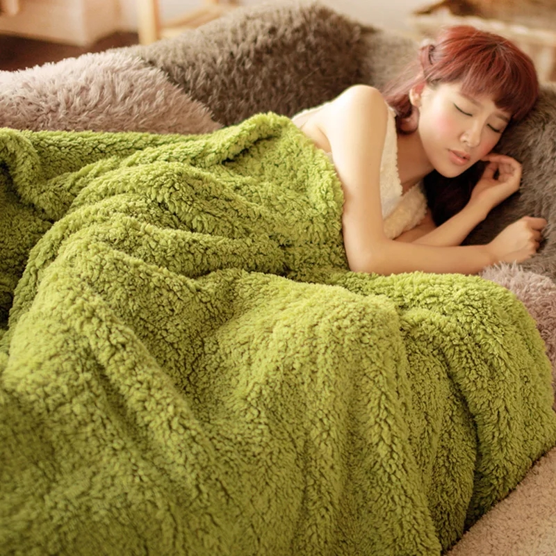 Queen size Soft Berber fleece blanket  for winter 200*230cm  classical thicken cotton comforter  ,Casual Sleeping Bed Supplies thicken soft knitted sleeping bag kids wrap mermaid blanket