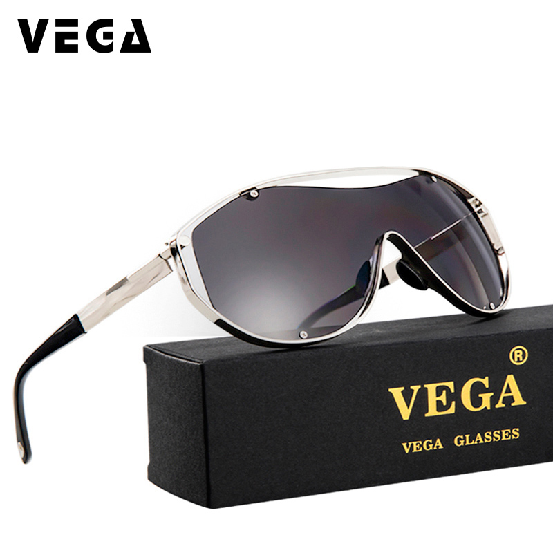 VEGA Oversize Sunglasses Men Women Brand Designer High Quality Party Glasses With Pouch Metal Frame Super Wide Lens 18047