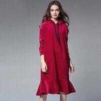2017 Европейский Американский дизайн Женщины с капюшоном повседневные платья большие размеры XL-4XL сплошной цвет Женская мода на осень-зиму Ру...