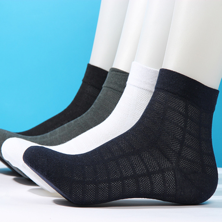 Summer Man Male Men Dress Thin Pure Cotton Four Seasons In Student Movement Breathable Short Black Socks Simple Color Casual