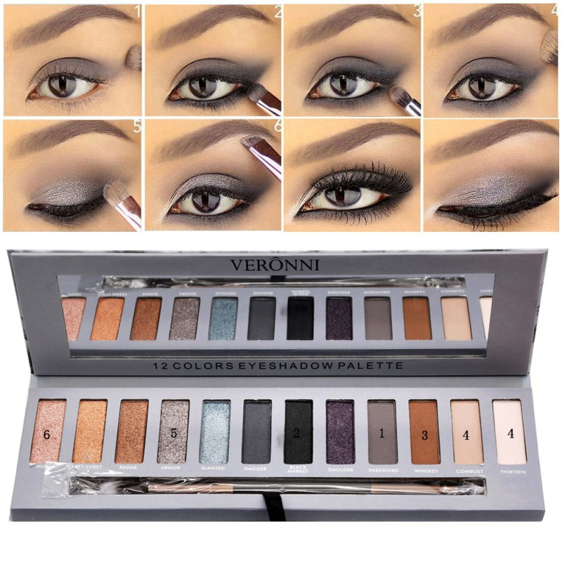 Professional Eyeshadow Palette Matte Shimmer Smoky Eye shadow 12 Colors Makeup Warm Brown Red  Long Lasting Cosmetics Kits