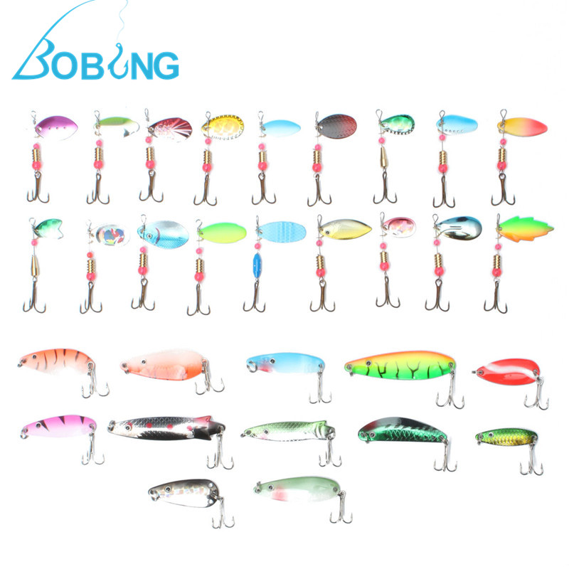 Bobing 30pcs Mixed Spinners Fishing Lures Pike Salmon Baits Bass Fish With Metal Hooks Artificial Pesca Fishing Tackle Accessory 10pcs 10cm plastic hard fishing lures saltwater fishing bass pike deep diver floating artificial fishing wobblers lure hooks