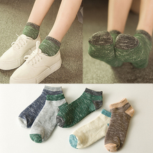 5 Pairs/lot Summer Solid Thin Short Women's Socks Female Cotton Low Cut Ankle Socks Ladies Colorful Boat Socks For Sale