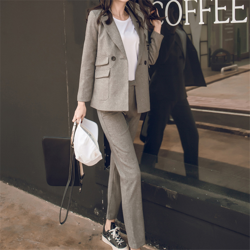 Women 2 Piece Sets Gray Casual Blazer & High Waist Pant Office Lady Notched Jacket Pant Suits Korean Suit Femme