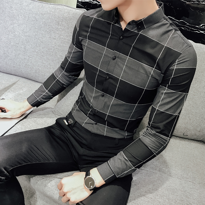 2018 new spring men's shirt sleeve shirt casual Plaid Cotton Shirt slim Mens Fashion all-match business shirt