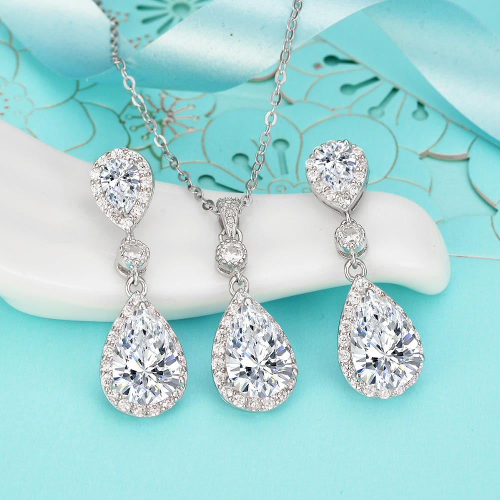 Bella Fashion 925 Sterling Silver Teardrop Bridal Necklace Earrings Set Cubic Zircon Wedding Jewelry Set For Women Party Jewelry modern nordic solid wood led rotated wall lamp bedside night light bedroom living room aisle sconce light fixture wall decor art