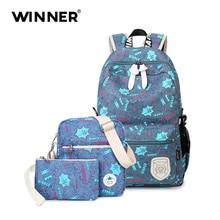 Победитель 3 шт./компл. Рюкзак Женщины Письмо печати рюкзак холст Bookbags школьные рюкзаки сумки для девочек-подростков Bagpack backbag