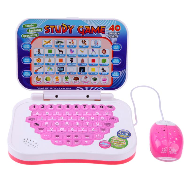 1set Bilingual Learning Machine Children Kid Laptop Computer Toy Alphabet Pronunciation learning toys for children Color Random image
