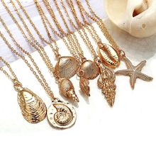 2019 New Fashion Shell Starfish Necklace For Women 10 Design Bohemian Cowrie Gold Color Alloy Chain Choker Summer Beach Jewelry
